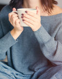 Woman with of coffee or tea at home Royalty Free Stock Photography