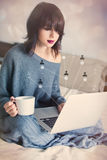 Woman with of coffee or tea and notebook Stock Photo
