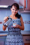 The woman with coffee Stock Images
