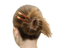 Woman coiffure with asian sticks Stock Photography