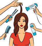 Woman with coiffure in  salon. Stock Photo