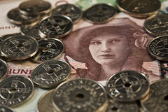 Woman and coins Stock Photos