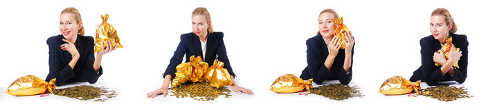The woman with coins and golden sacks Stock Images