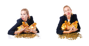 The woman with coins and golden sacks Royalty Free Stock Image