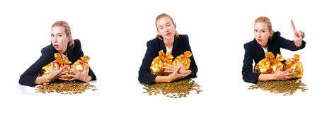 The woman with coins and golden sacks Stock Image
