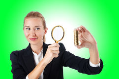 Woman with coins Stock Images