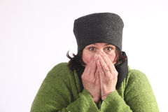 Woman cold stock image