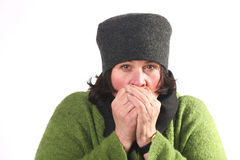 Woman cold royalty free stock images