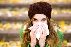 Woman with a cold Royalty Free Stock Images