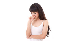 Woman with cold or flu, running nose. White isolated background Stock Photos