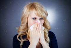 Woman with cold, germs Royalty Free Stock Photography