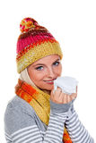 Woman with a cold and handkerchief Royalty Free Stock Images