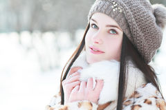 Woman in cold sunny winter royalty free stock photos