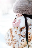 Woman in cold sunny winter Stock Photos