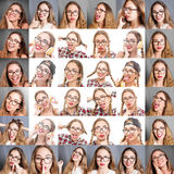 A woman collage with different expressions Stock Photos