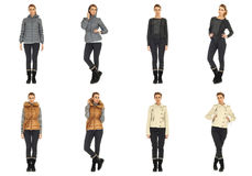 Woman collage in season clothing isolated. Blonde collage in season clothing isolated Stock Images