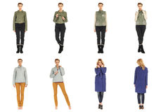 Woman collage in season clothing isolated. Blonde collage in season clothing isolated Stock Photo