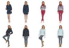 Woman collage in season clothing isolated Royalty Free Stock Images