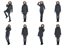 Woman collage in season clothing isolated Stock Images