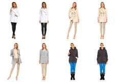 Woman collage in season clothing isolated. Blonde collage in season clothing isolated Royalty Free Stock Images