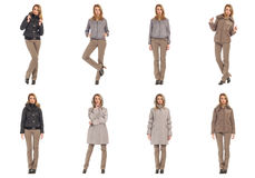 Woman collage in season clothing isolated. Blonde collage in season clothing isolated Stock Image