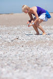 Woman collecting shells. Woman on a beach collecting shells Royalty Free Stock Photography