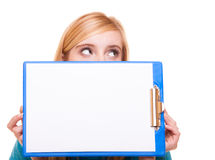 Woman college student girl holds clipboard with blank Royalty Free Stock Image