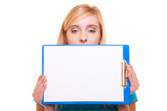Woman college student girl holds clipboard with blank Stock Images