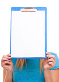 Woman college student girl holds clipboard with blank Stock Photo