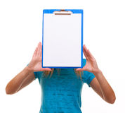 Woman college student girl holds clipboard with blank Stock Image