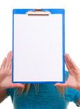 Woman college student girl holds clipboard with blank Royalty Free Stock Photography
