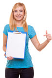 Woman college student girl holds clipboard and points Stock Photo