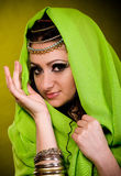 Woman in color arabian clothes Royalty Free Stock Photos