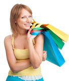 Woman with color bags Stock Photography