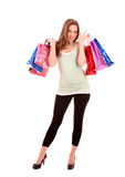 Woman with color bags isolated Royalty Free Stock Photos