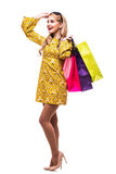Woman with color bags isolated on white background Royalty Free Stock Photo