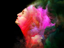 Woman of Color. Blend of female portrait and vivid colors on subject of imagination, creativity and emotional mind Royalty Free Stock Photography