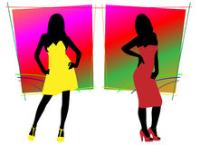 Woman in color dress Royalty Free Stock Image