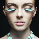 Woman with color eyelashes Royalty Free Stock Image