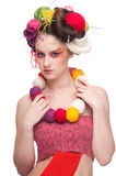 Woman with color face art in knitting style Royalty Free Stock Image