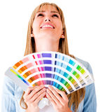 Woman with a color guide Stock Images