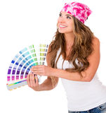 Woman with a color guide Royalty Free Stock Photos