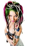 Woman with color hair wire Stock Images