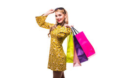 Woman with color shoping bags isolated on white. Woman with color bags isolated on white royalty free stock image