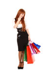 woman with color shopping bags Stock Image