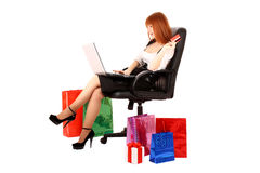 woman with color shopping bags Stock Images
