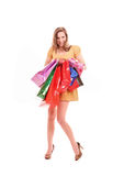 woman with color shopping bags Stock Photo