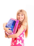 Woman with color shopping bags Royalty Free Stock Image