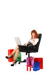 woman with color shopping bags Stock Photos