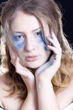 Woman in color spray powder Royalty Free Stock Photos